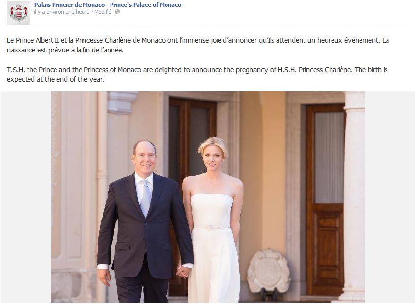 Monacon ruhtinatar Charlene raskaana, vauva