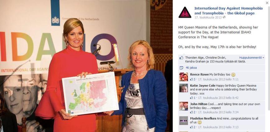 Alankomaiden kuningatar Maxima seksuaalivähemmistöjä tukevassa konferenssissa
