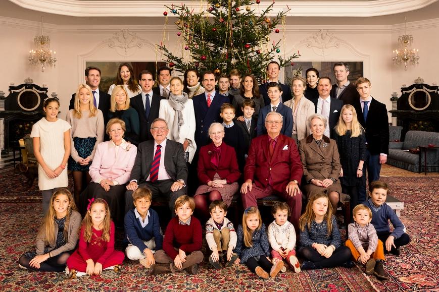 Tanskan kuninkaallisen perheen joulu - Kreikan kuninkaalliset, Kruununprinsessa Mary, prinsessa Marie, kuningatar Margareeta, kuninkaalliset lapset