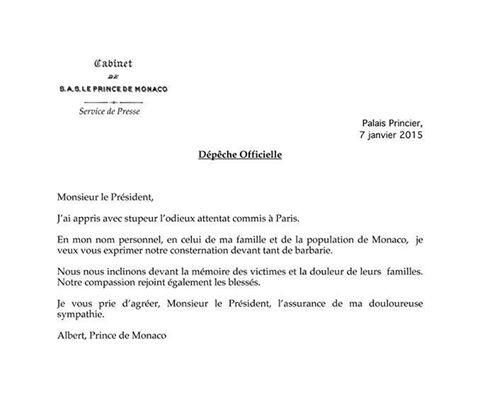 Kuninkaalliset, Je suis Charlie, Charlie Hebdo, Monacon ruhtinas Albertin surunvalittelu