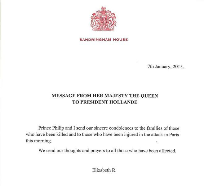 Kuninkaalliset, Je suis Charlie, Charlie Hebdo, Iso-Britannian kuningatar Elisabetin surunvalittelu