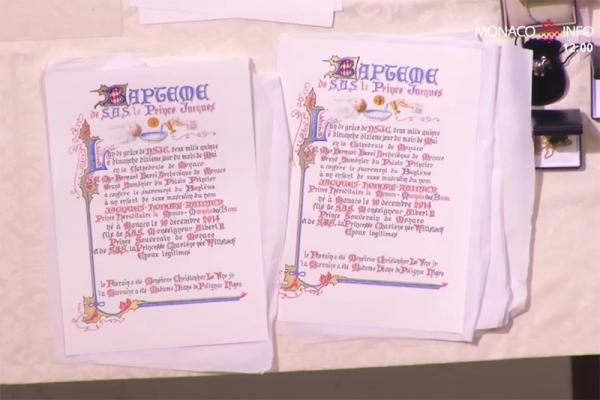 Monacon kaksosten kastejuhla, prinsessa Gabriella, perintöruhtinas Jacques, ruhtinatar Charlene, ruhtinas Albert, ristiäiset