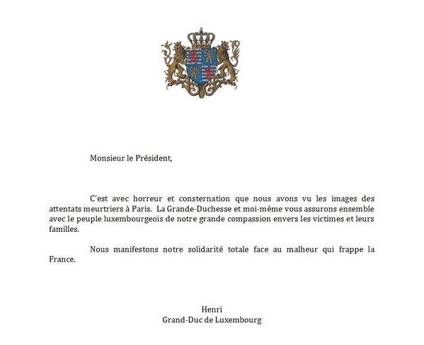 Pariisin terrori-iskut, Luxemburgin suurherttua Henrin viesti