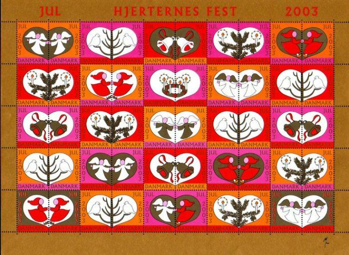 Tanskan kuningatar Margareetan suunnittelemat joulupostimerkit 2003