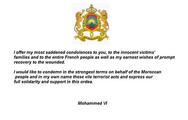 Pariisin terrori-iskut, Marokon kuninkaan viesti