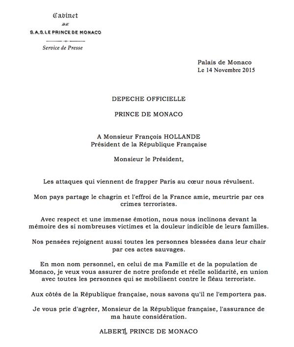 Pariisin terrori-iskut, Monacon ruhtinas Albertin viesti