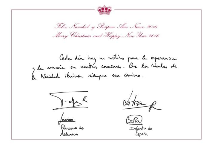 Espanjan prinsessa Leonor ja prinsessa Sofia, infanta, Espanjan kuningas Felipen ja kuningatar Letizian joulukortti