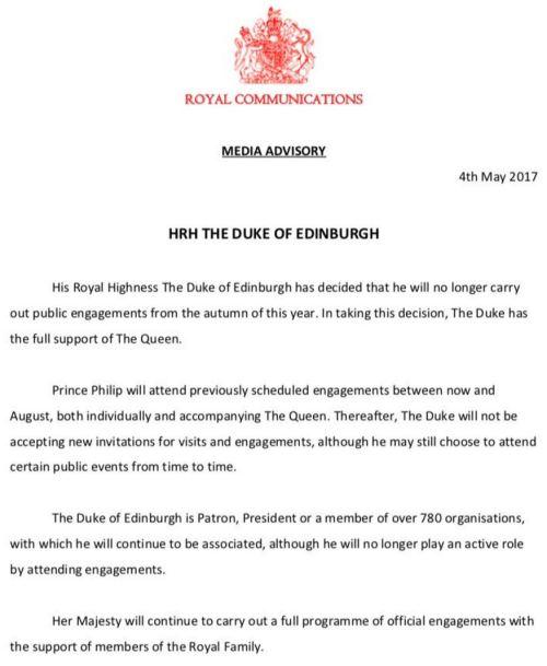 Prinssi Philip eläkkeelle