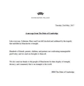 Manchesterin terrori-isku, kuninkaalliset