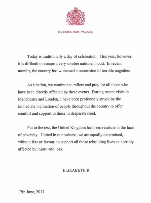 Lontoo terrori-iskut ja Grenfell Tower - kuninkaallisten reaktiot, kuningatar Elisabet, Hovikirjeenvaihtaja, Trooping the Colour