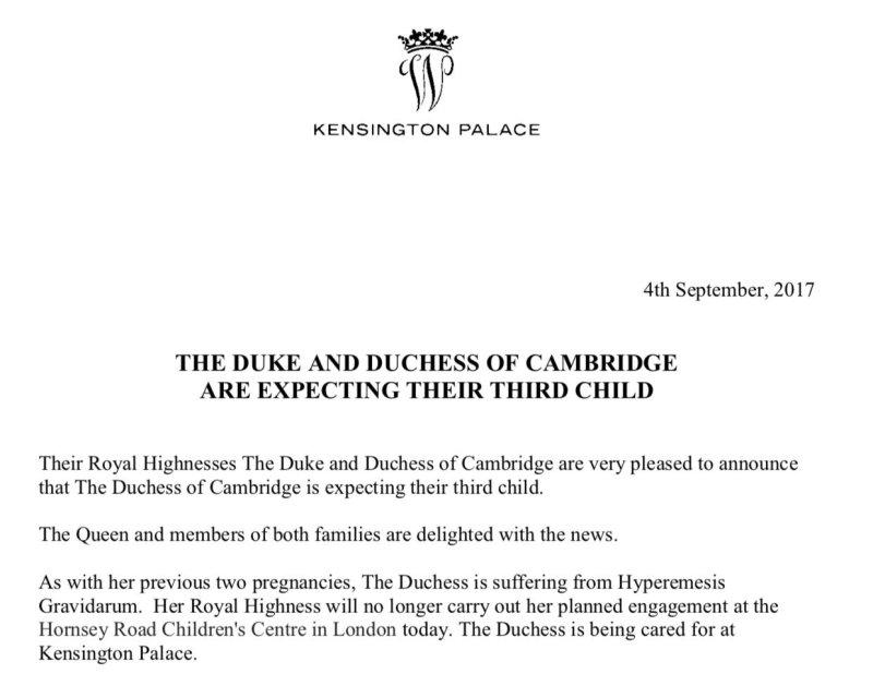 Herttuatar Catherine, Kate Middleton raskaana, kolmas lapsi, vauva